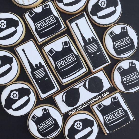 One Dozen Police Sugar Cookies - Decorated Sugar Cookies - Sugar Cookies