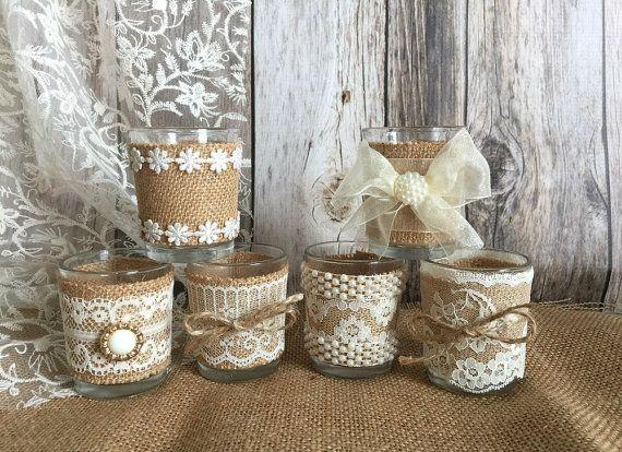 6 arpillera color natural rústico y encaje cubiertos velas de té votivas, favor o mesa de la decoración de la boda