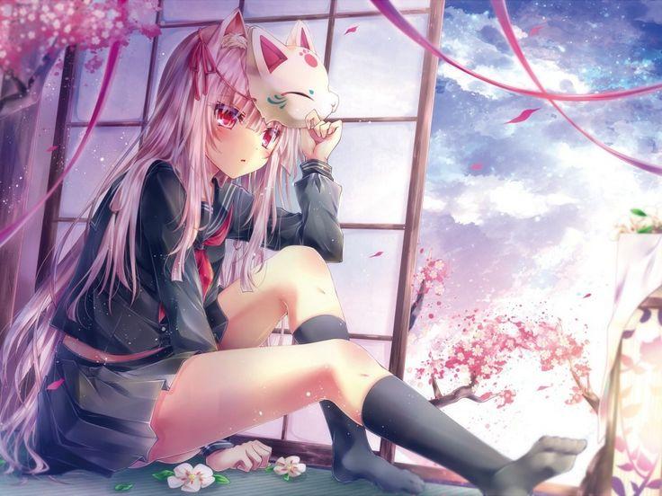 Скачать обои облака, маска, сакура, девушка, лепестки, форма, дерево, аниме, ленты, небо, tetsu tissue, школьница, цветы, раздел аниме в разрешении 1024x768