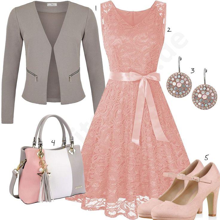 Frauenoutfit mit rosé Pumps und Kleid mit Spitze
