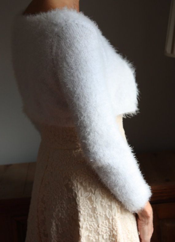 Bridal Bolero, Wedding Cardigan, Kate Middleton Style Shrug, Angora Like yarn