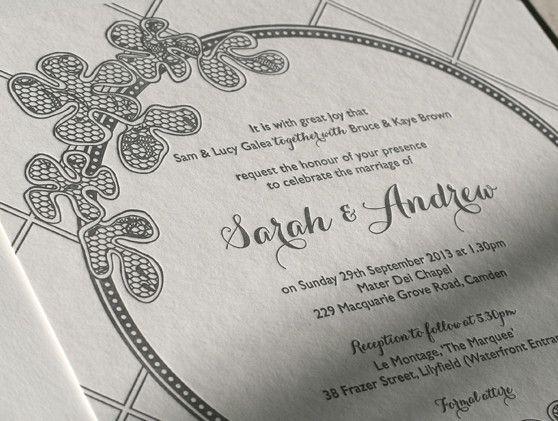 Letterpress wedding stationery - lace circle