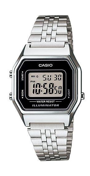 Casio LA680WA-1D Womens Vintage Silver Tone Chronograph Alarm Digital Watch