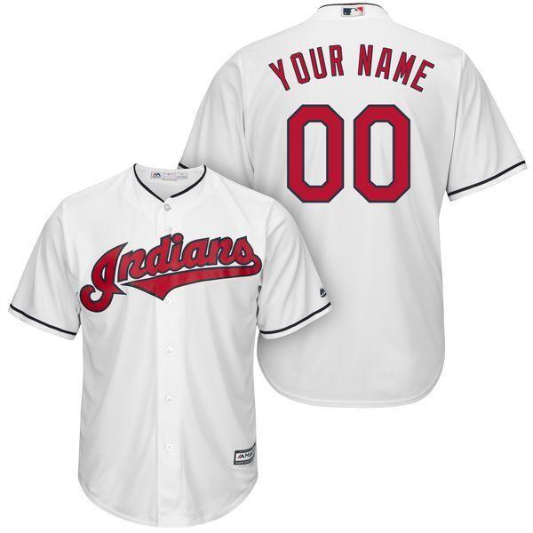 free shipping 88904 e2c50 Men Cleveland Indians Majestic White Cool Base Custom MLB ...