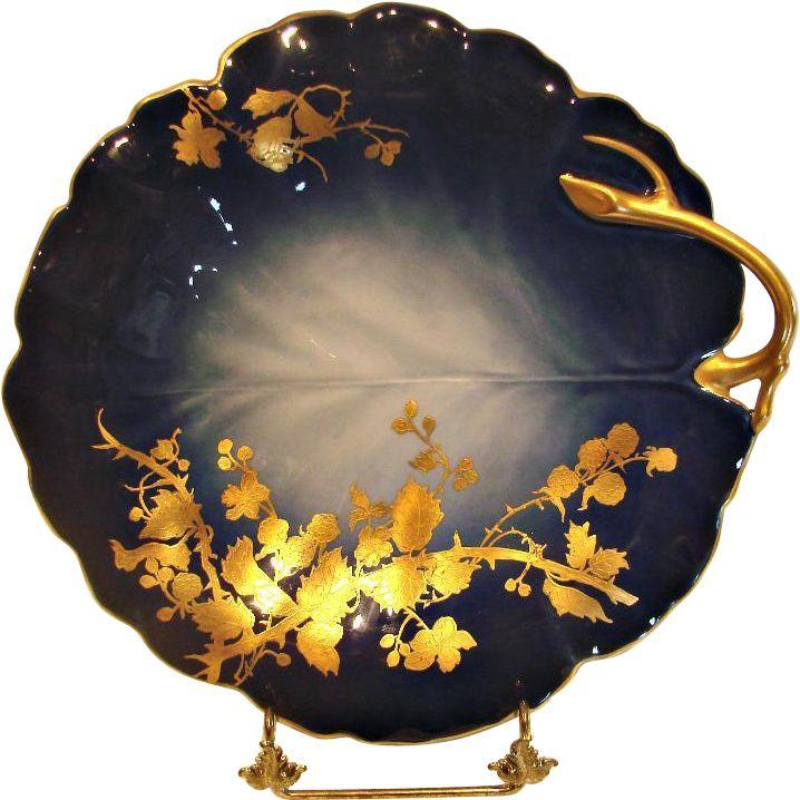 French Limoges Shaded Cobalt Blue Glaze Leaf Shape Cake Plate or Platter w Gold Blackberry Vine  sc 1 st  Pinterest & 147 best French Antique Porcelain u0026 Pottery images on Pinterest