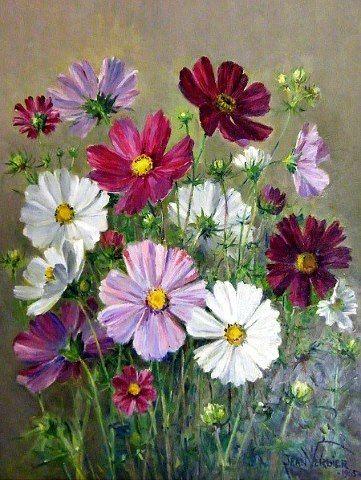 """""""Spring flowers"""" (1965) By Jean Verdier, from Switzerland (1901 - 1969) - oil on board; 14 x 11 in -"""