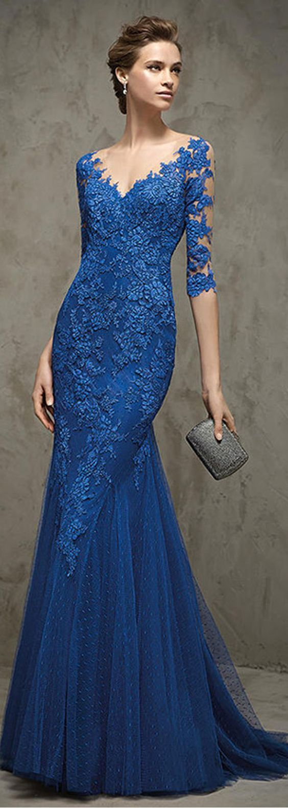 Long Blue 3/4 Length Sleeves Lace Tulle Illusion Neckline Prom Evening Dresses 2103028