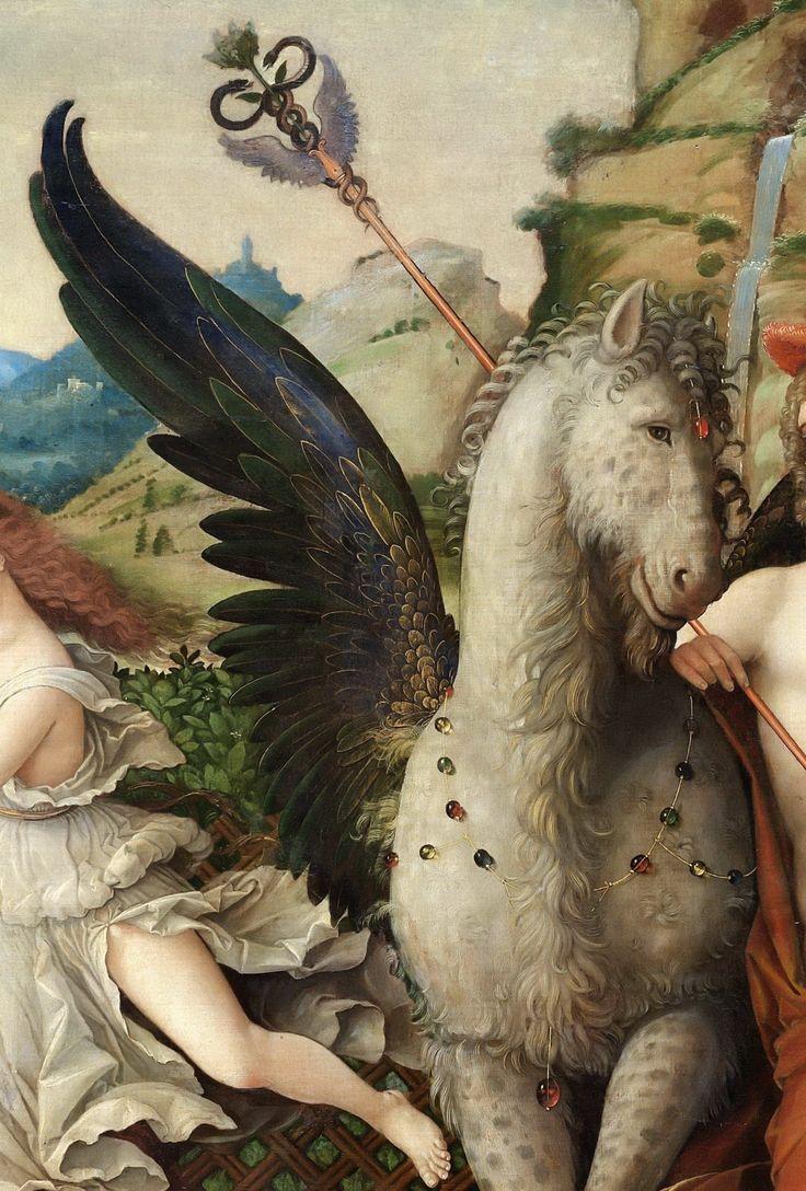 .:. Andrea Mantegna (1431-1506) - Parnassus, Detail of Pegasus and Mercury. 1497