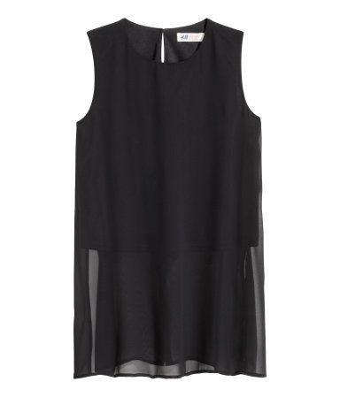Mouwloze blouse van chiffon | Zwart | Kinderen | H&M NL