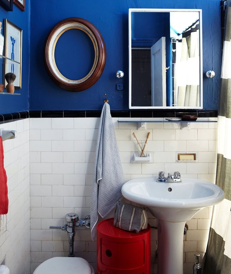 A CUP OF JO: bathroom makeover: Cup, Nautical Bathrooms, Bathroom Makeovers, Small Bathroom, Blue Bathrooms, Color, Blue Wall, Bathroom Ideas, White Bathroom