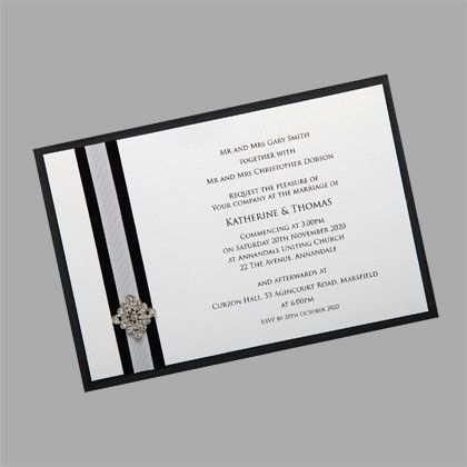These wedding invitations shown here in black and white can be made in a range of colours. www.kardella.com