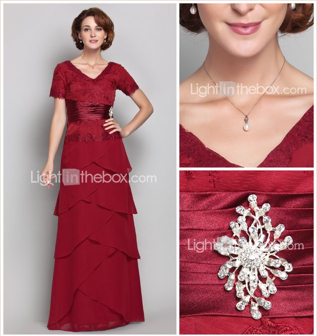 Sheath/Column V-neck Floor-length Chiffon And Lace Mother of the Bride Dress (568156) - USD $ 117.99