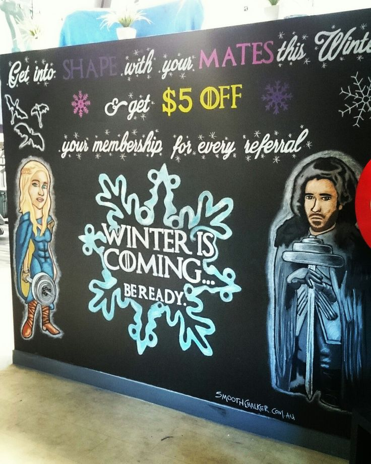 Game Of Thrones inspired chalkboard wall mural.