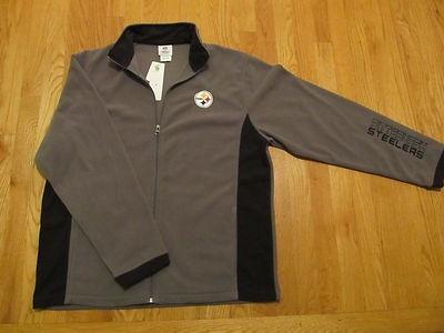 Pittsburgh Steelers Sweatshirt Zip Fleece Gray NFL Apparel Jacket L XL $60   eBay  Great fleecy jacket!