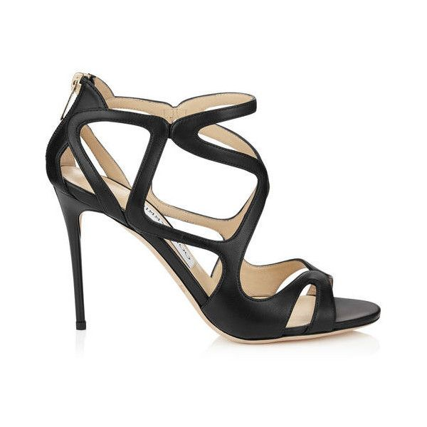 Black Nappa Leather Strappy Sandals LESLIE 100 (€775) ❤ liked on Polyvore featuring shoes, sandals, heels, strappy heel shoes, strappy heeled sandals, black strappy sandals, jimmy choo and black sandals