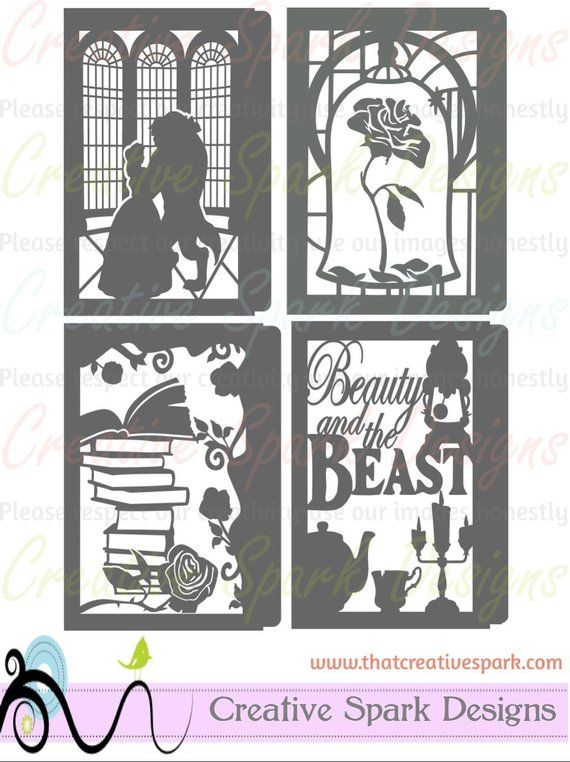 Beauty and the Beast Paper Lantern DIY Project SVG, DXF files for die cutting, party centerpieces, wedding, decor, children, shower