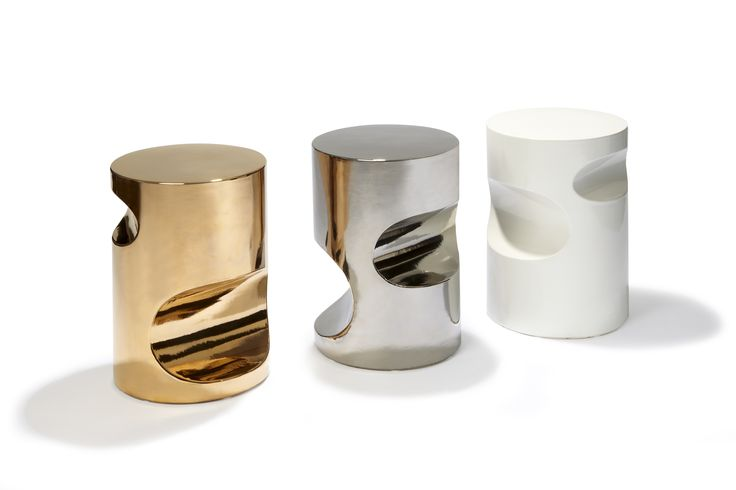 Fetish stools, Design by Hervé Langlais, White platinium and gold ceramic