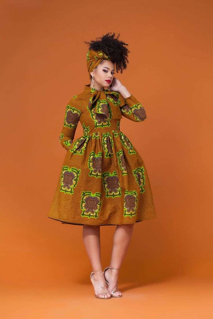 African Print Pikine Midi Dress|Grass-fields| Effortlessly stylish and wonderfully endearing,