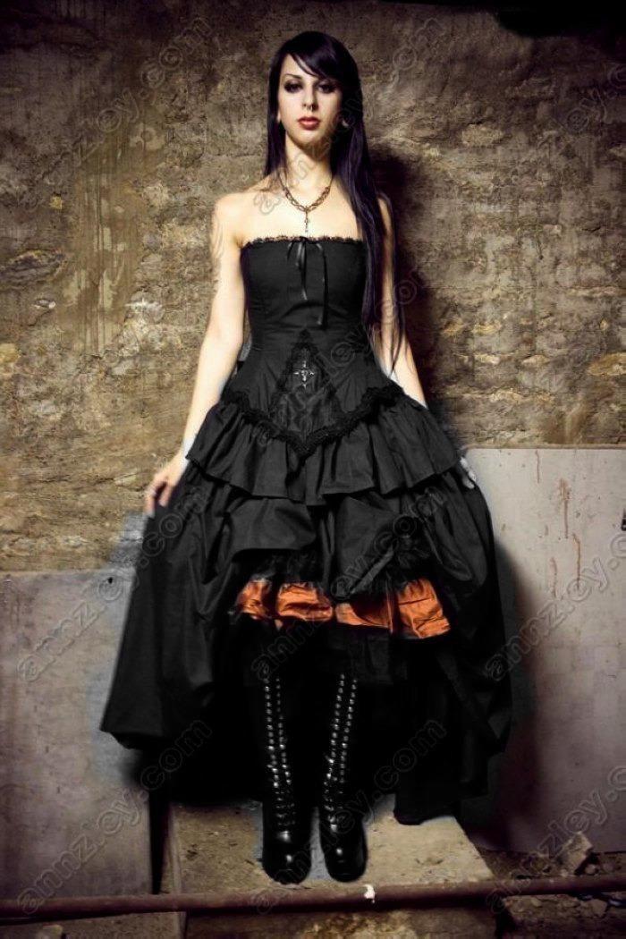 Vintage Vampire Cross Corset Black Gothic Wedding Dresses