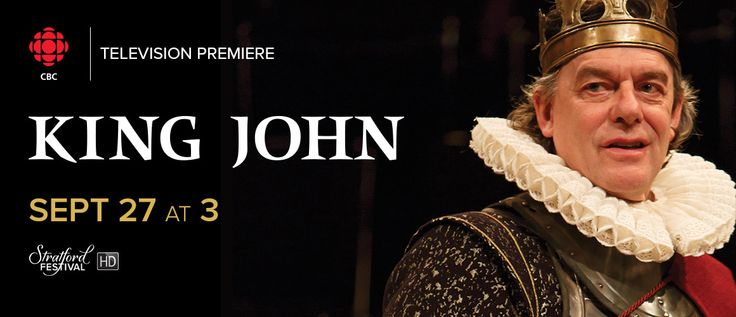 Don't miss your chance to see the spectacular #StratfordHD film King John airing commercial free THIS Sunday at 3 pm on CBC! Excommunication, attempted atrocity, rebellion and assassination run rampant in this visually stunning production.