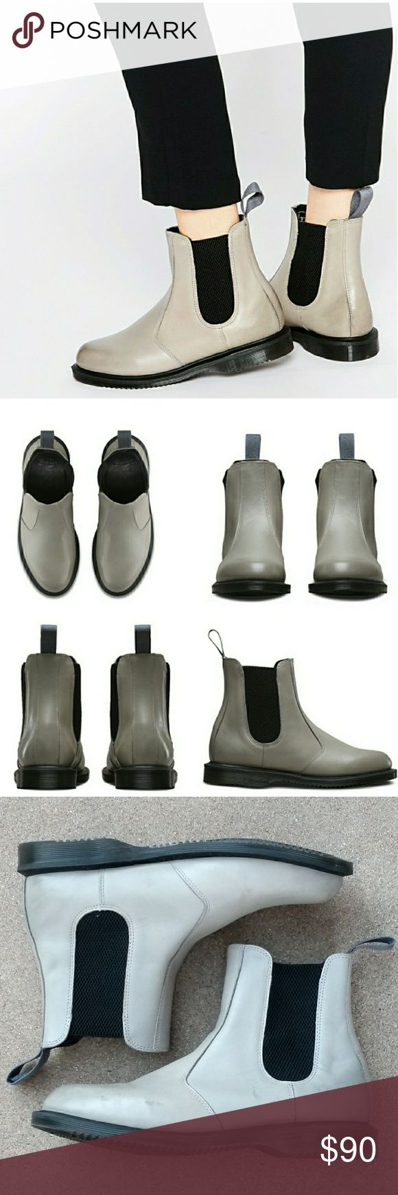 """DR./DOC MARTEN Flora Leather Chelsea Ankle Boot An essential Chelsea boot cast in smooth leather punctuates your street style with a hint of old-school flair.  Appx 1"""" heel; 1/2"""" platform, 6"""" boot shaft.  Leather upper/leather and textile lining/synthetic sole.  Worn a handful of times.  Some discoloration, see pics.  Size 10 US women's. Gray color. Dr. Martens Shoes Ankle Boots & Booties"""