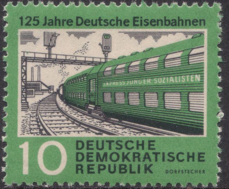 """Briefmarke """"125 Jahre Deutsche Eisenbahnen"""". DDR, Nov. 1960. Entwurf: Dietrich Dorfstecher"""