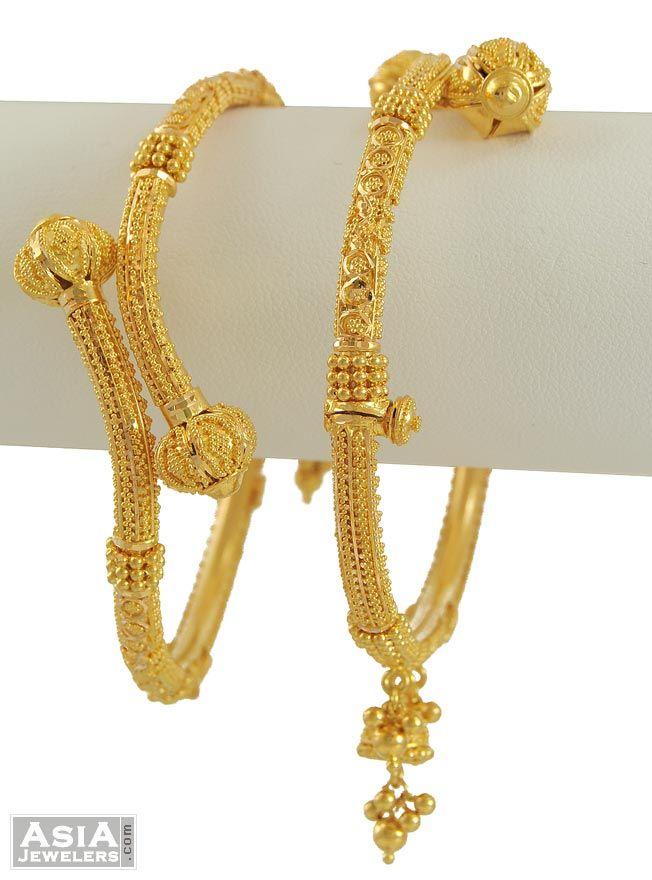 Gold Bangles From India   gold bangles 22k gold kadas 22k indian pipe kadas 2 pcs code ajba54429
