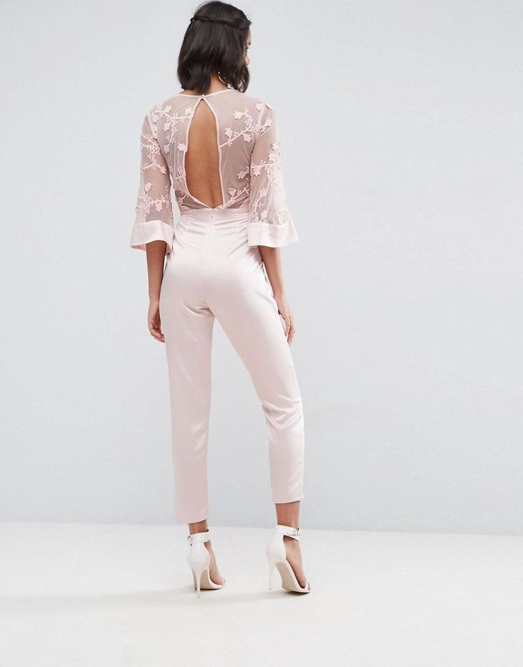ASOS Jumpsuit with Lace Bodice and Contrast Satin Pant - Pink