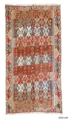 K0013313 Vintage Cal Kilim Runner | Kilim Rugs, Overdyed Vintage Rugs, Hand-made Turkish Rugs, Patchwork Carpets by Kilim.com