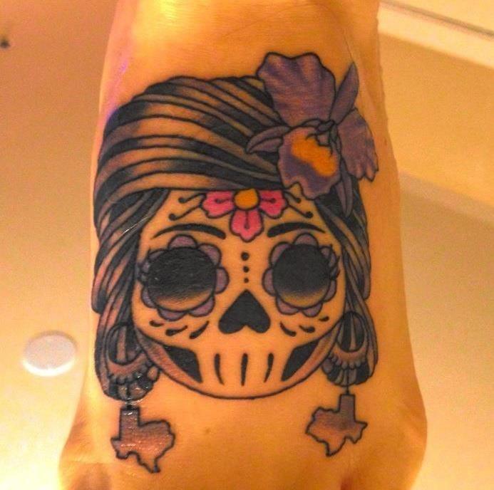 Texas brasil sugar skull tattoo tattoos pinterest for Texas tattoo license