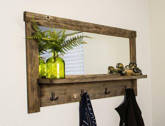 Rustic Entry Mirror  Wall-Mounted Coat Rack  Reclaimed Wood