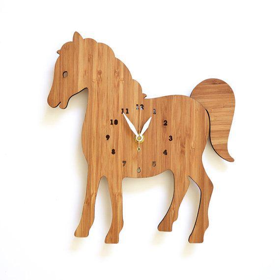 horse clock, Clock for kids room, childrens room decor, farm animal theme, modern wall clock