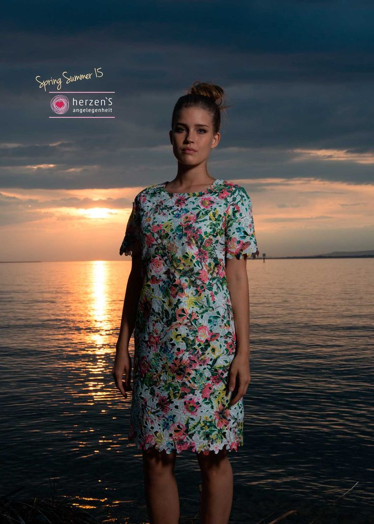 6151-6007 floral dress, natural #garments #musthave #herzensangelegenheit