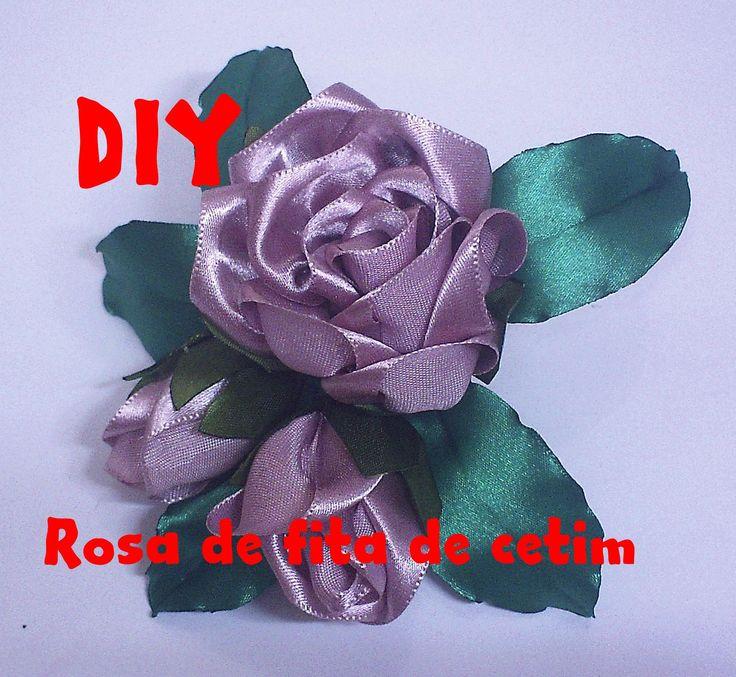 Rosa de fita de cetim / Rose satin ribbon