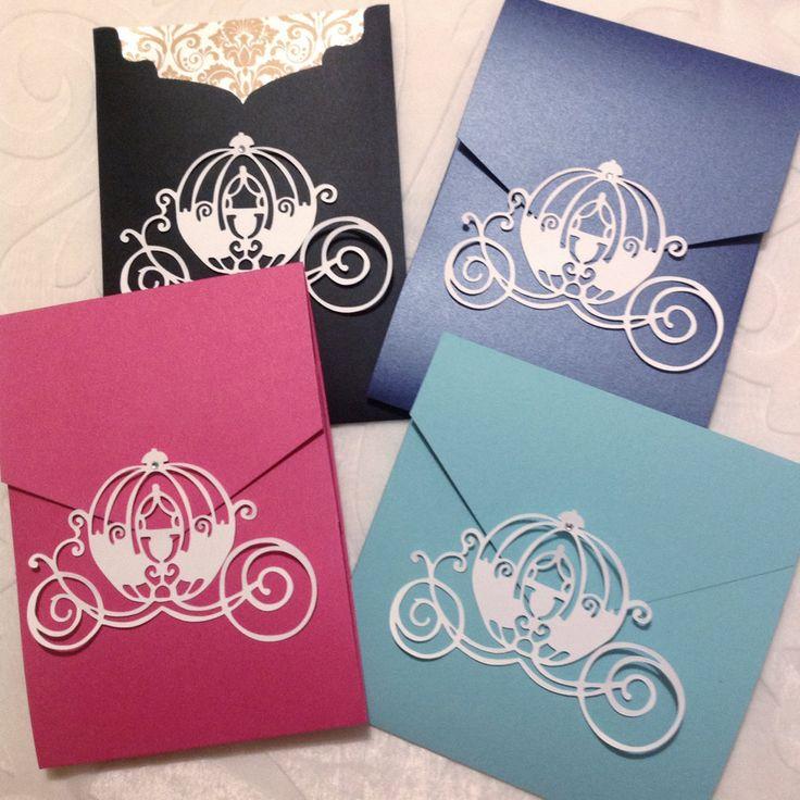 Make Any Invitation a Disney / Princess Invitation with Princess Cinderella Coach / Carriage Pocket Seals or Embellishments by NikaPaperworks on Etsy https://www.etsy.com/listing/192926981/make-any-invitation-a-disney-princess
