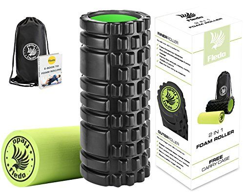Fledo 2-in-1 Foam Roller. Trigger Point massage for Painful Tight muscles  Smooth Rollers for Rehabilitation! FREE USER E-BOOK  FREE CARRY CASE! Black
