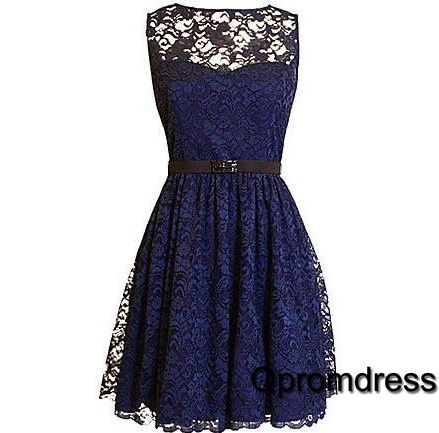Vintage prom dress, cute blue lace short prom dress for teens, prom dress 2016