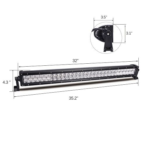 """32"""" 180w  RGB 5D lens light bar combo beam with wiring & App control 4x4 ATV Jeep off road lights"""