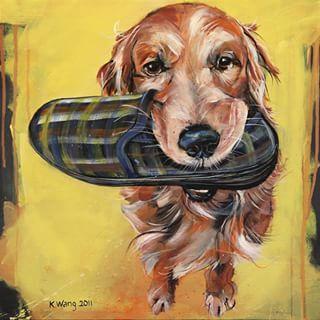 """Tøffelhelt"" #painting #art #fineart #acrylic# acryliconcanvas #dog #dogportrait #slipper #assistent #helpful #dachs #yellow #kunst #maleri #tøffel #hund #gul #hjelper #hjelpsom #hundeportrett"