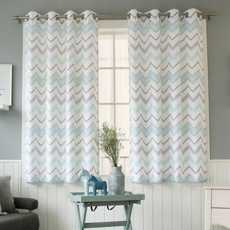 "Multicolored Chevron Blackout Curtains Eyelet Grommet 102""W X 67""H Pair 1Set #Handmade #Modern"