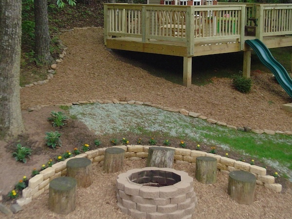Firepit With Log Stools Could Work On The Slope Back