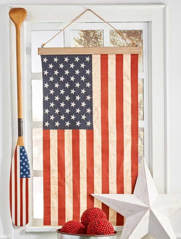 American Flag With Wood Hanger Flag Americanflag American Flag Wall Decor American Flag Decor Hanging Flag On Wall