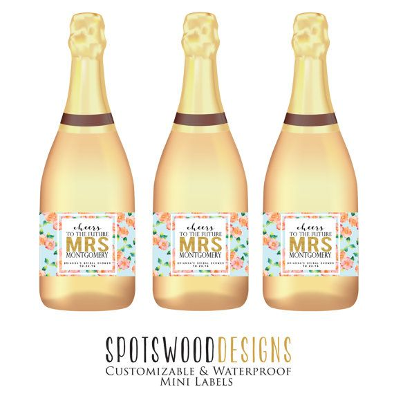 Mini Cheers to the Future Mrs. Custom Champagne Label. Wine Label. Bridal Shower Gift. Bridal Shower Decorations. Bridal Shower Favors.