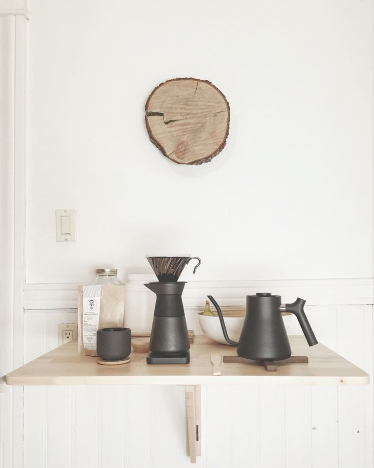 Scandinavian design inspired pour over coffee station. Stelton Theo, Hario V60, Fellow Stag Kettle and Acaia Lunar scale.