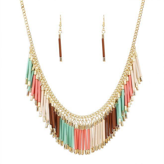 Aliexpress.com: Koop Nieuwe mode charme sieraden set hanger ketting hars kwastje choker verklaring bib ketting oorbellen vier kleuren groothandel N32551 van betrouwbare tribale ketting leveranciers op Fashion Max NO.1