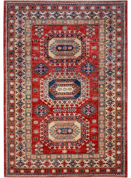 "Red Oriental Kazak Rug 4' 2"" x 5' 11"" (ft) - No. 10484  http://alrug.com/red-oriental-kazak-rug-4-2-x-5-11-ft-no-10484.html"