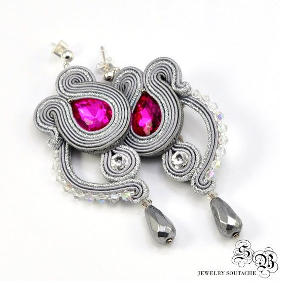 Long gray silver Dangle Soutache Earrings by SBjewelrySoutache
