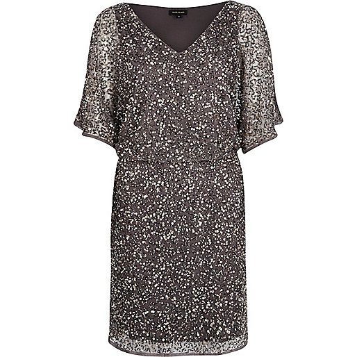 Grey sequin embellished occasion dress - party / evening dresses - dresses - women