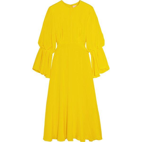 Roksanda Ophelia silk-satin dress ($730) ❤ liked on Polyvore featuring dresses, roksanda, bright yellow, bright dresses, bright yellow dress, yellow cocktail dress, silk satin dress and bright colored dresses