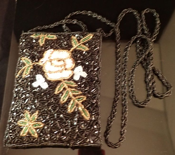 Vintage Petite Shoulder Floral Black Beaded Evening Bag - Purse Shoulder Bag - Pink Rose w/ Gold Green Leaves by DOINGITSOBER on Etsy